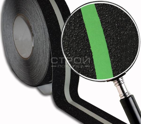 Черная лента фотолюминесцентная с фрагментом увеличения.
