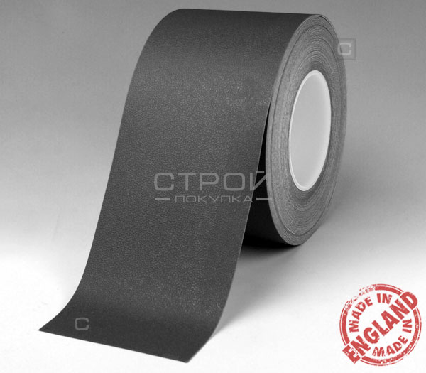 Черная лента виниловая самоклеющаяся Resilient, с противоскользящим эффектом. Ширина: 10 см, Длина: 18,3 метра