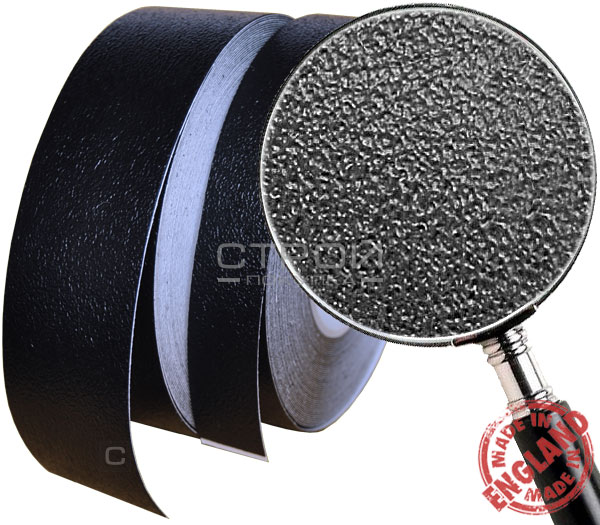 Черная лента виниловая самоклеющаяся Resilient, с противоскользящим эффектом. Ширина: 2,5; 5; 10 см, Длина: 18,3 метра