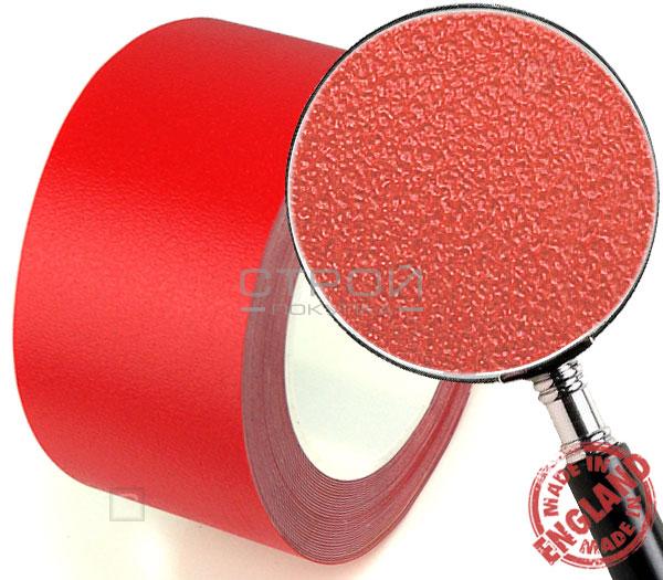 Красная лента виниловая самоклеющаяся Resilient, с противоскользящим эффектом. Ширина: 10 см, Длина: 18,3 метра