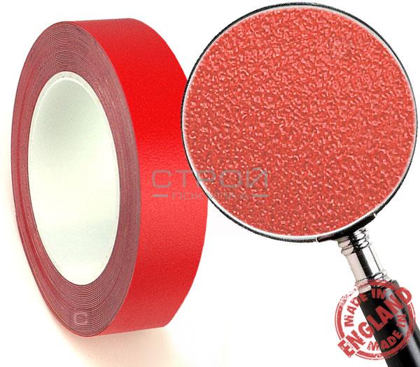 Красная лента виниловая самоклеющаяся Resilient, с противоскользящим эффектом. Ширина: 2,5 см, Длина: 18,3 метра