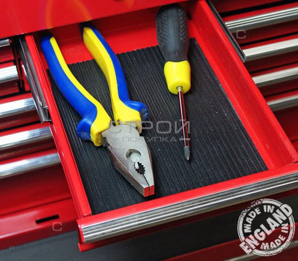 Подкладка под инструмент в ящике,  вырезанная из резиновой самоклеющейся резиновой противоскользящей ленте.