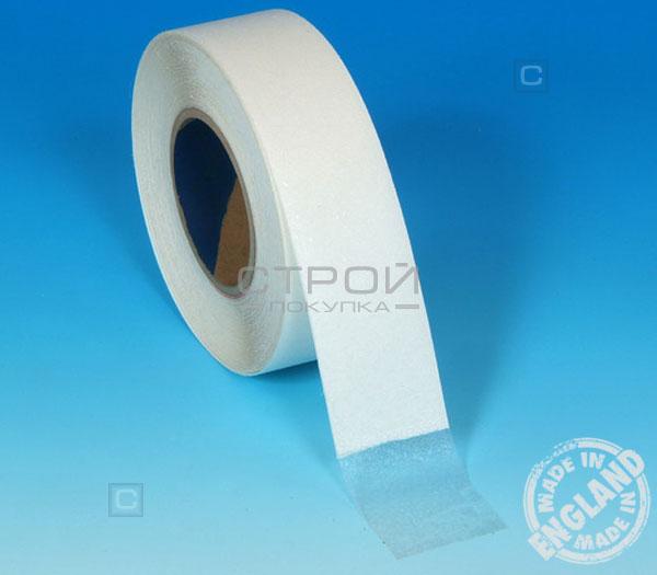 Прозрачная виниловая противоскользящая лента Aqua Safe на голубой поверхности