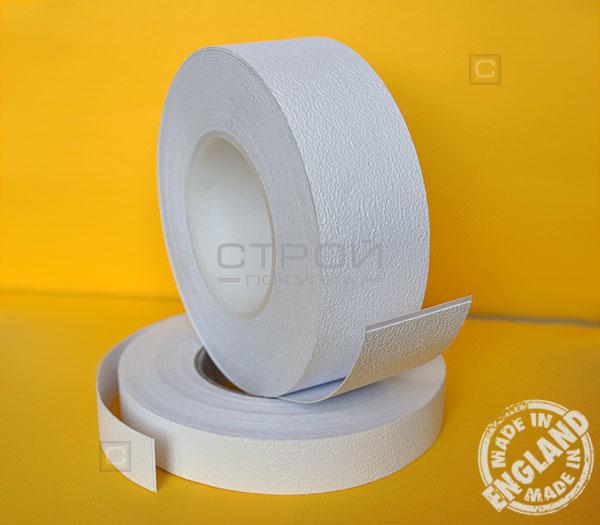 Белая виниловая противоскользящая лента Aqua Safe, Длина: 18,3 метра, Ширина: 5 и 2,5 см