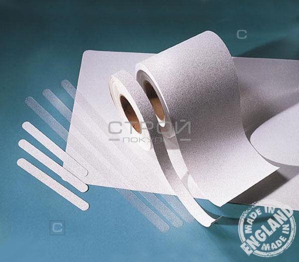 Белая виниловая противоскользящая лента Aqua Safe, Длина: 18,3 метра, Ширина: 10см