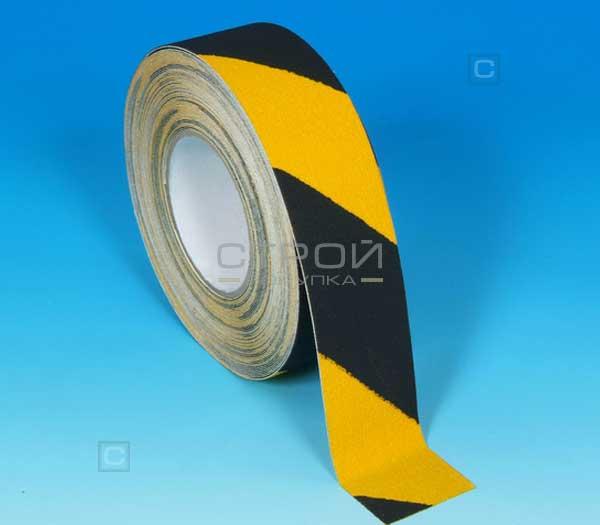 Желто-черная противоскользящая лента шириной 5 см
