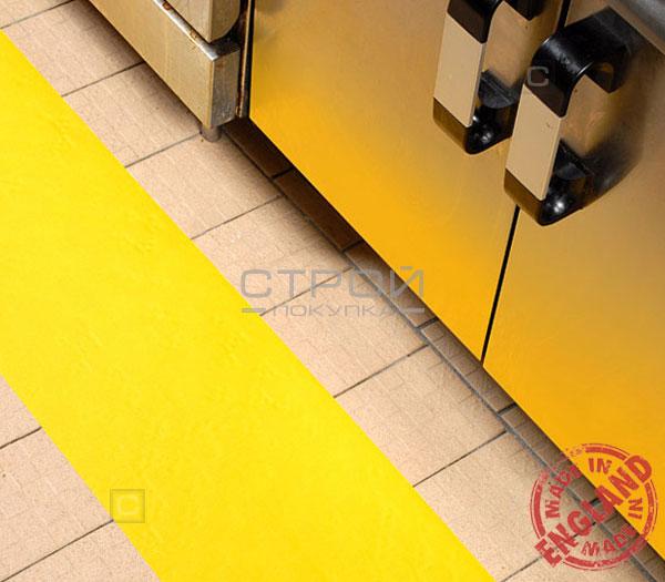 Желтая лента виниловая самоклеющаяся, противоскользящая Resilient, Ширина: 10см, Длина: 18,3 метра