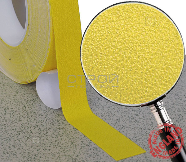 Желтая лента виниловая самоклеющаяся, противоскользящая Resilient, Ширина: 2,5 см, Длина: 9 метров