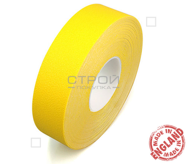 Рулон желтой ленты виниловой самоклеющейся Resilient, предназначенной против скольжения.  Ширина: 5 см, Длина: 9 метров