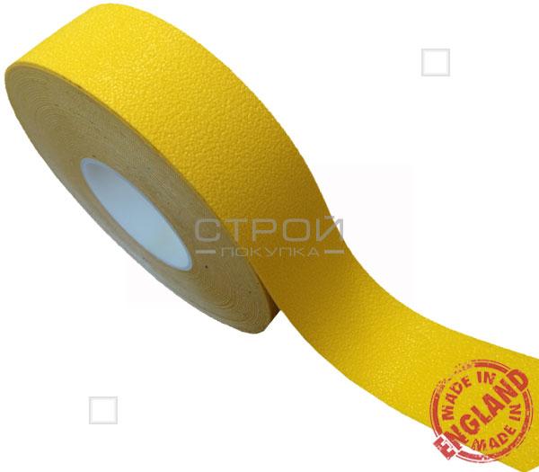 Рулон противоскользящей желтой ленты с  виниловой самоклеющейся основой. Ширина: 5 см, Длина: 9 метров