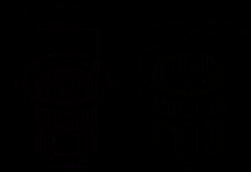 Защитные перила HarviaSASPO241 Legend - схематические размеры