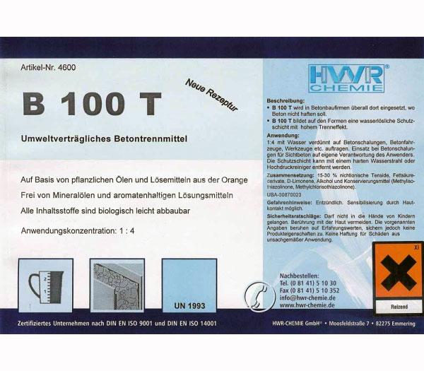 Этикетка смазки для опалубки B100T HWR.