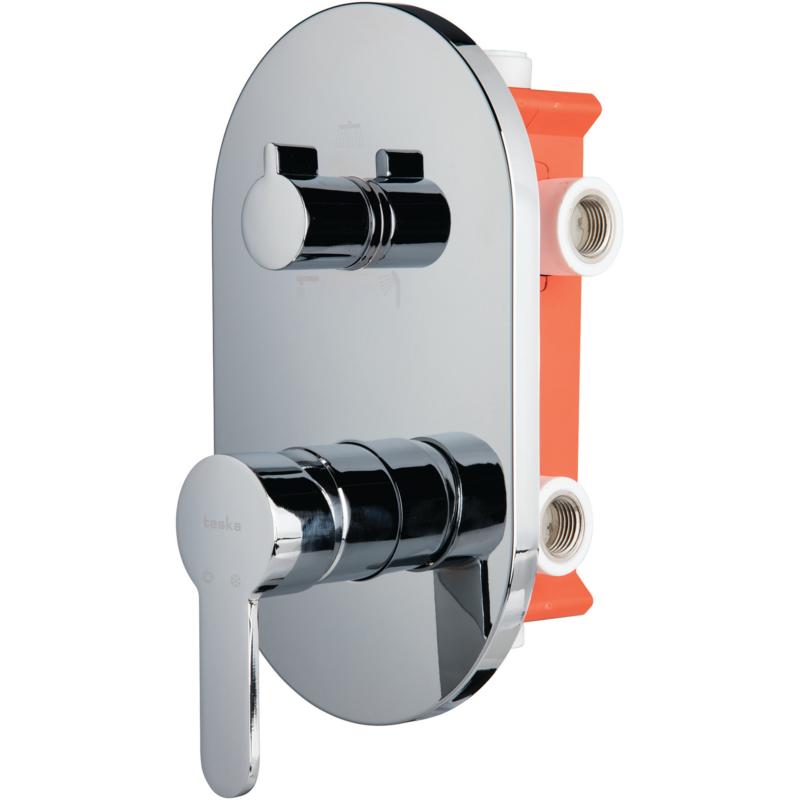 BTK D030 смеситель скрытого монтажа с переключателем ванна/душ хром 3-х ходовой вентиль