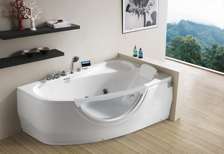 Гидромассажная ванна Gemy G9046 K R правосторонняя с мультимедиа в интерьере ванной с окном.