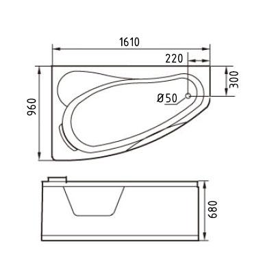 Размеры ванны Gemy G9046 K L.