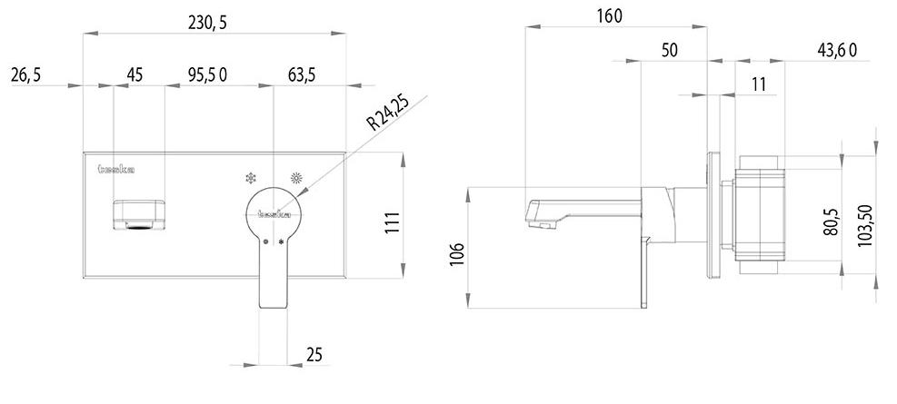 Quasar смеситель скрытого монтажа для раковин со стеклянной панелью