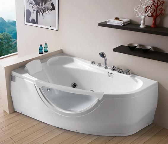 Акриловая ванна Gemy G9046 B L с гидромассажем и хрометерапией