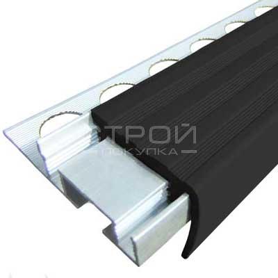 Противоскользящий закладной профиль  Next АЗУ 32 с черной резиновой вставкой. Алюминиевый закладной профиль ALPB с одним закладным элементом.