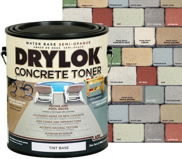 Полупрозрачная колеруемая пропитка для камня и бетона Concrete Stain and Toner Drylok.