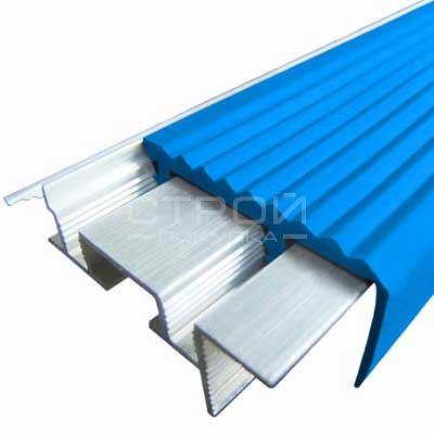 Профиль под плитку NEXT АЗУ43 с антискользящей резиновой вставкой синий