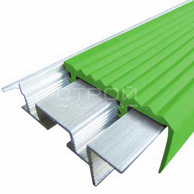 Профиль под плитку NEXT АЗУ43 с антискользящей резиновой вставкой зеленой