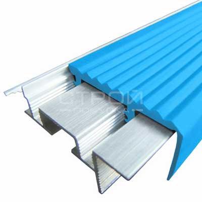 Профиль под плитку NEXT АЗУ43 с антискользящей резиновой вставкой голубой