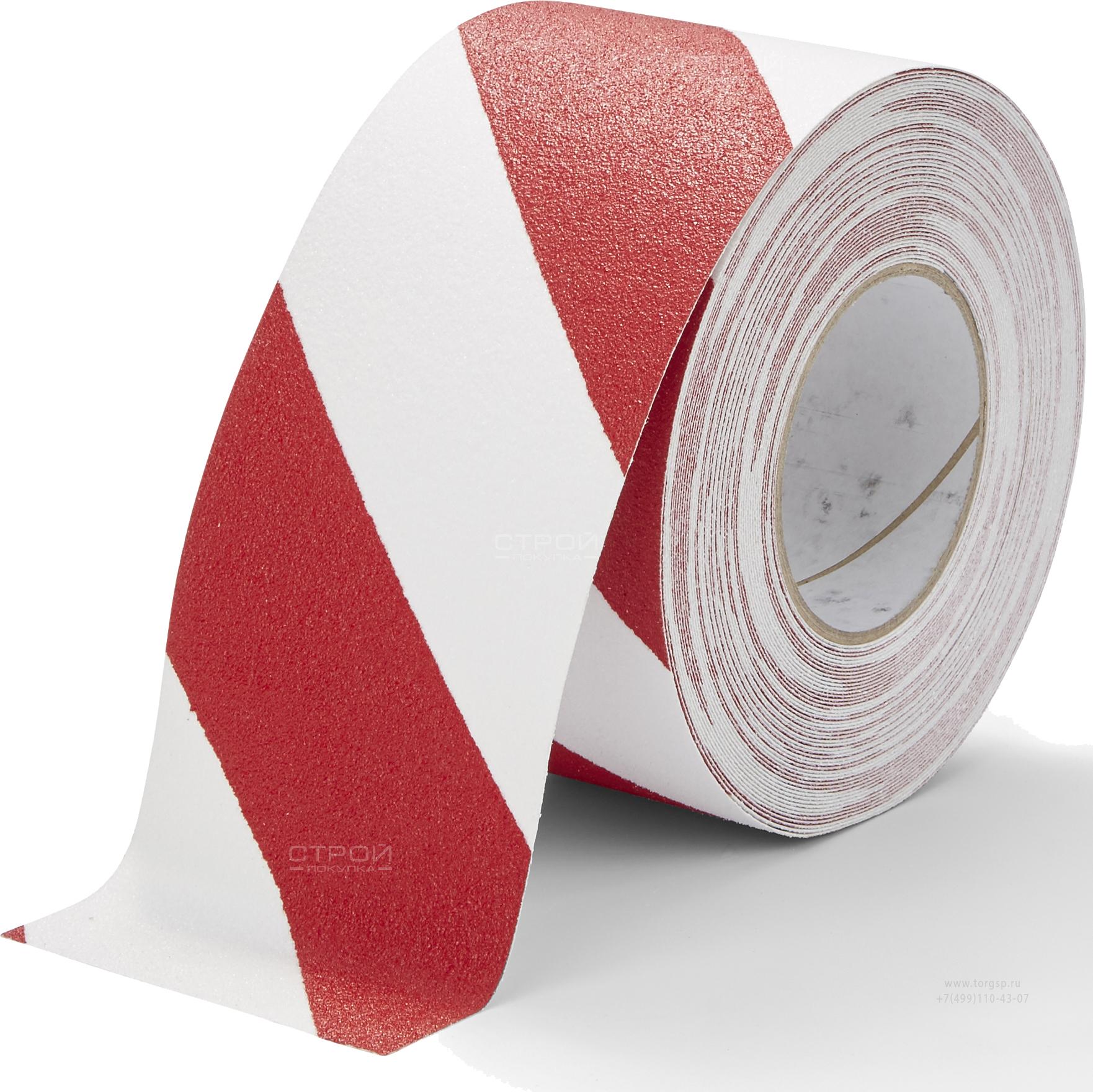 Лента Heskins самоклеющаяся красно-белая с абразивной поверхностью против скольжения, ширина 10 см