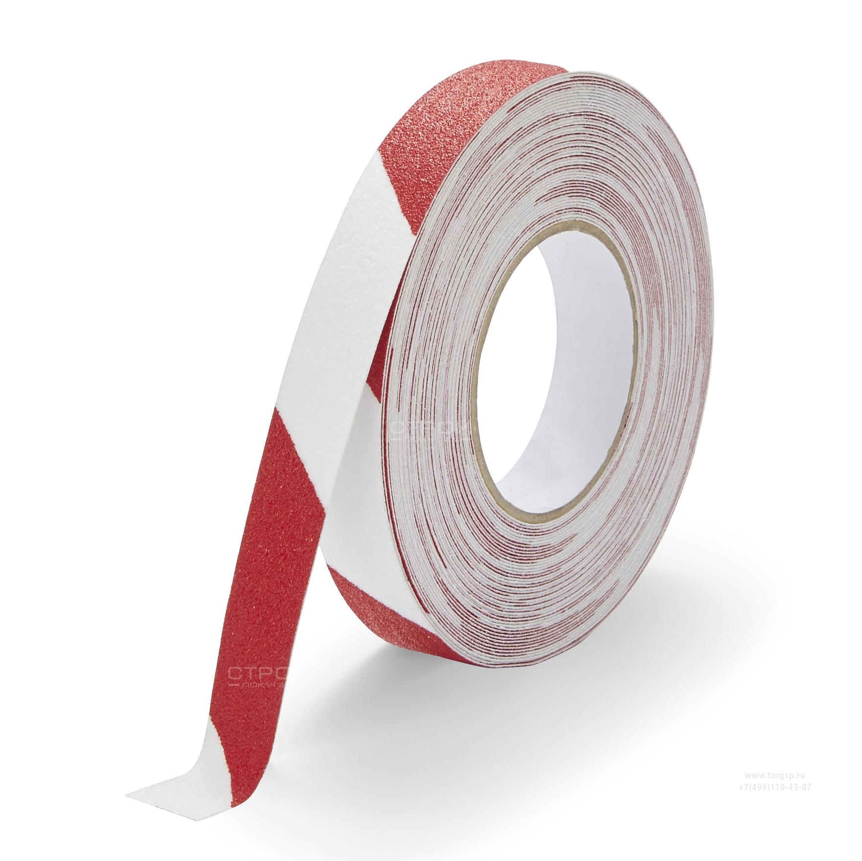 Лента Heskins самоклеющаяся красно-белая с абразивной поверхностью против скольжения, ширина 2,5 см