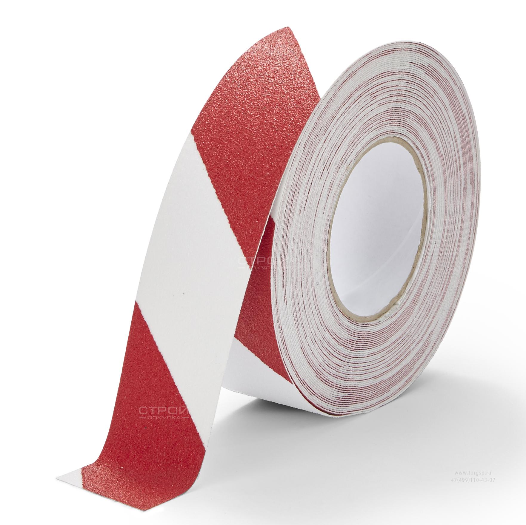 Лента Heskins самоклеющаяся красно-белая с абразивной поверхностью против скольжения, ширина 5 см