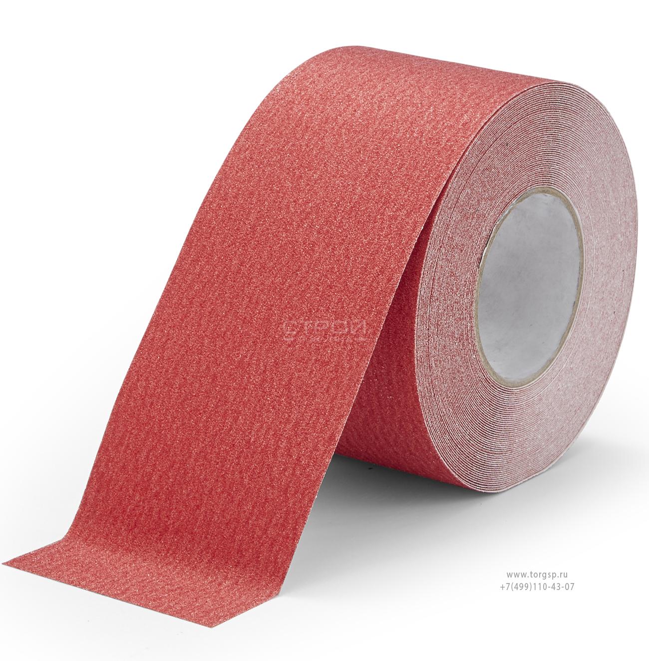 Красная абразивная противоскользящая лента Heskins шириной 10 см