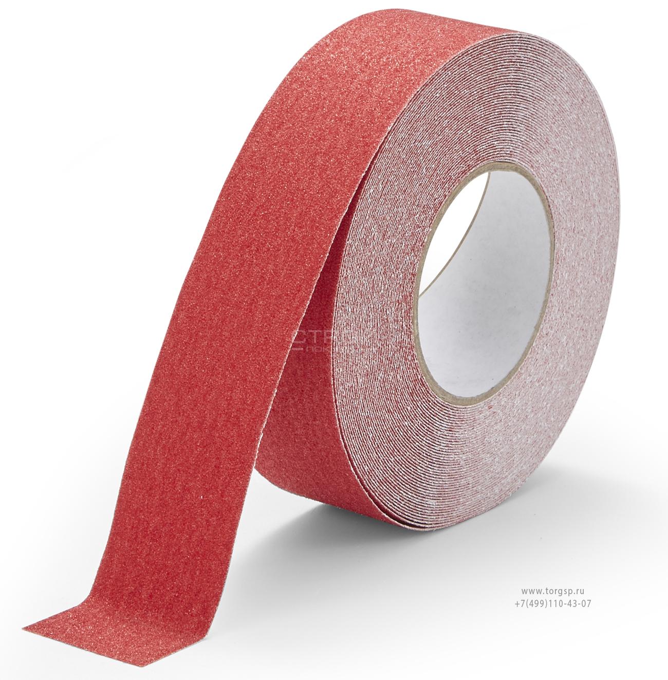 Красная абразивная противоскользящая лента Heskins шириной 5 см