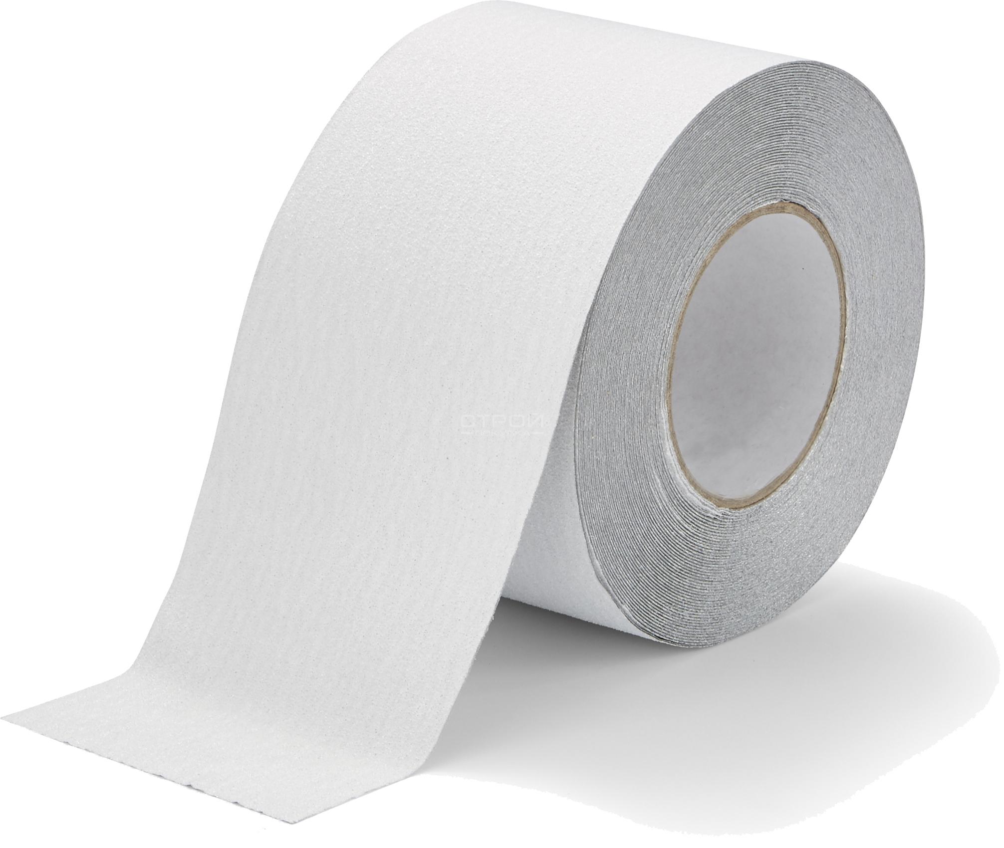 Белая противоскользящая абразивная лента на ступени шириной 10 см