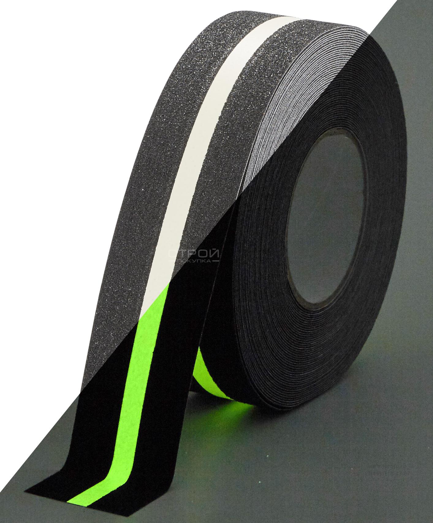 Черная лента фотолюминесцентная Heskins с  неабразивной полосой.
