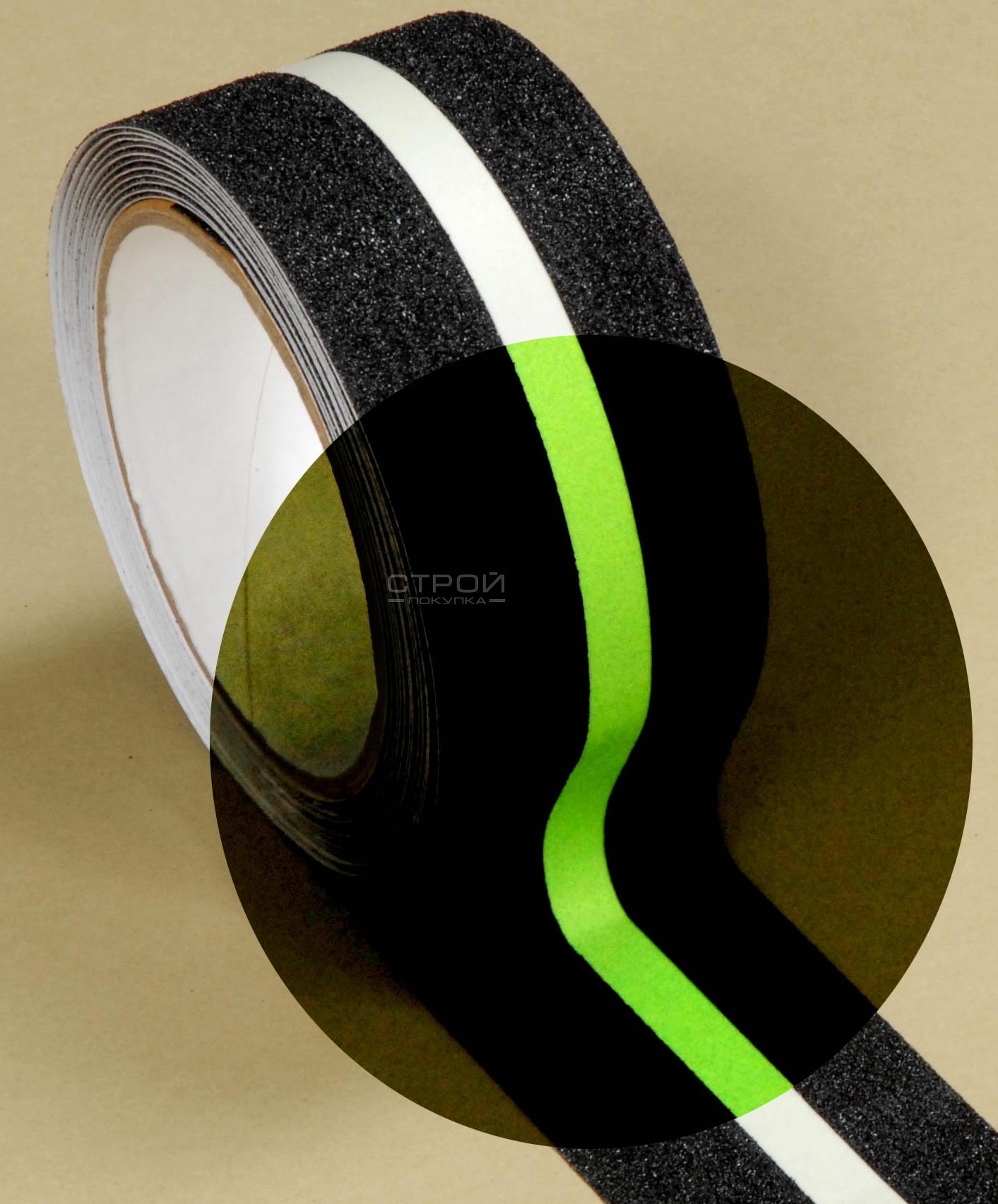 Черная абразивная лента Heskins с фотолюминесцентной полосой