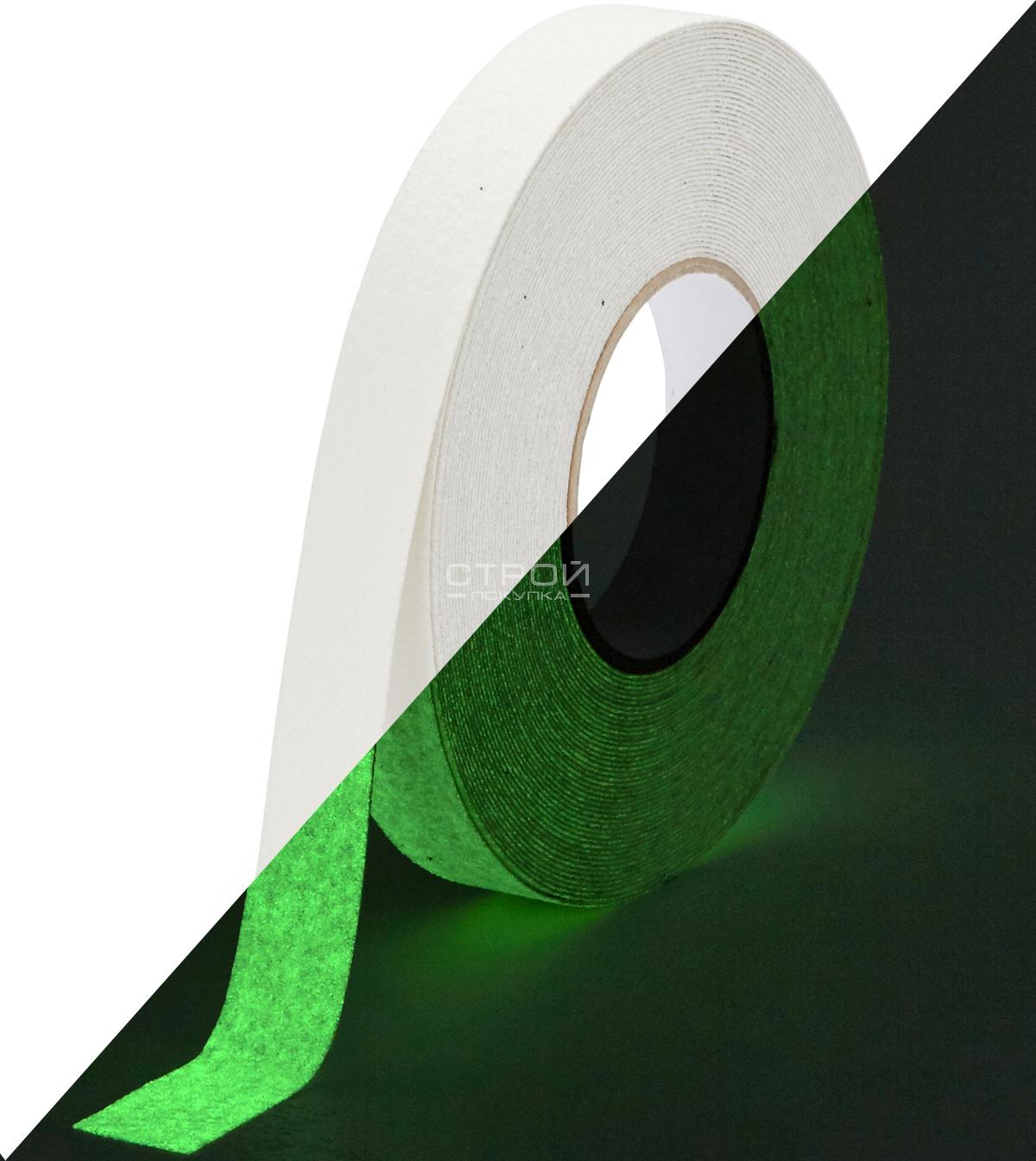 Светящаяся клейкая лента против скольжения 2.5 см, Heskins.