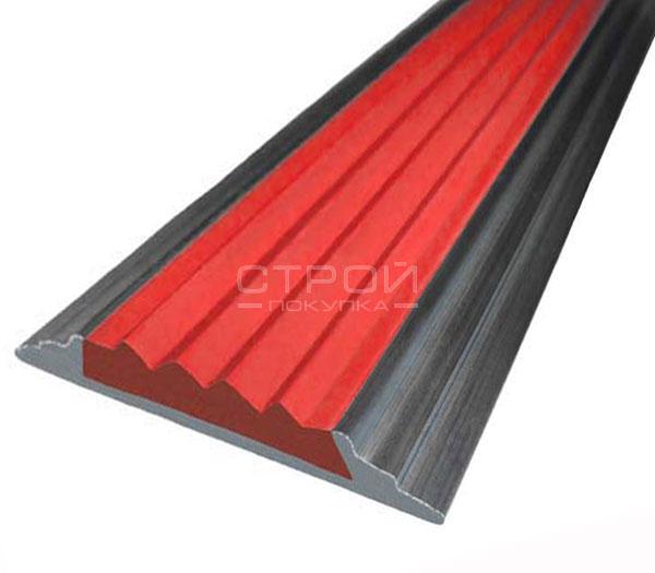 Антискользящая алюминиевая накладка Next АП46 с красной резиновой вставкой