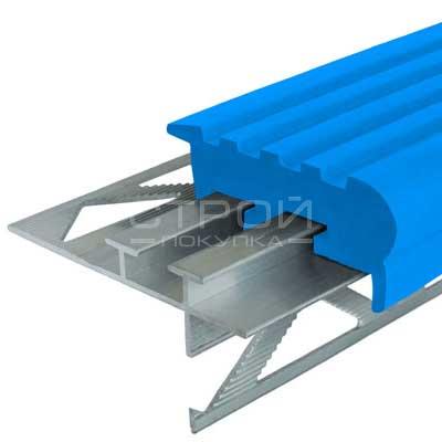 Профиль под плитку NEXT УШ50 с синей резиновой вставкой