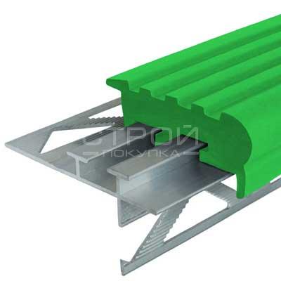 Профиль под плитку NEXT УШ50 с зеленой резиновой вставкой