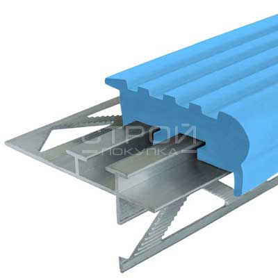 Профиль под плитку NEXT УШ50 с голубой резиновой вставкой