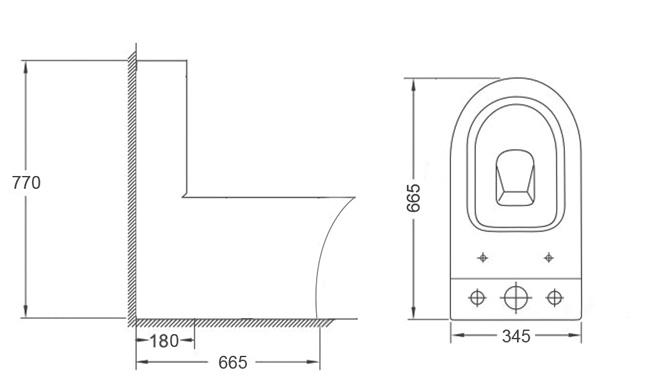 Унитаз напольный безободковый Timo Reko TK-201 с бачком - размеры