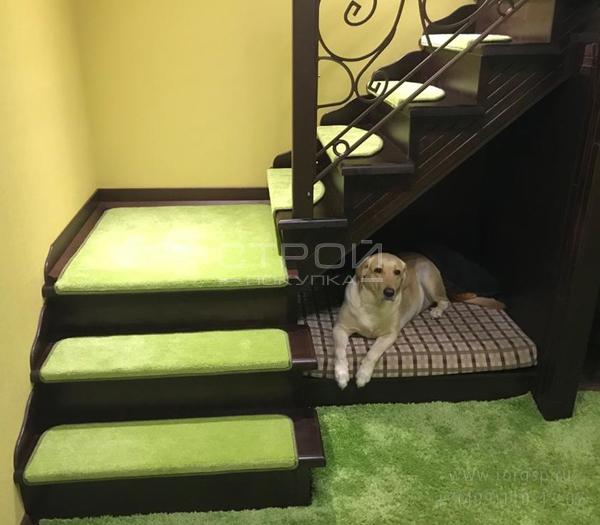 Зеленые коврики для ступеней лестницы в доме - Трава  на темной лестнице.