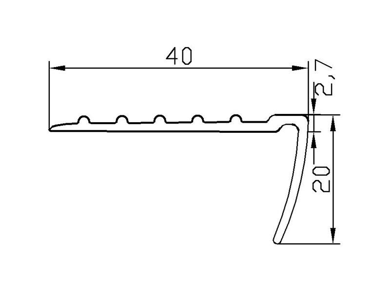 Схематический размер угловой резиновой накладки У-40.