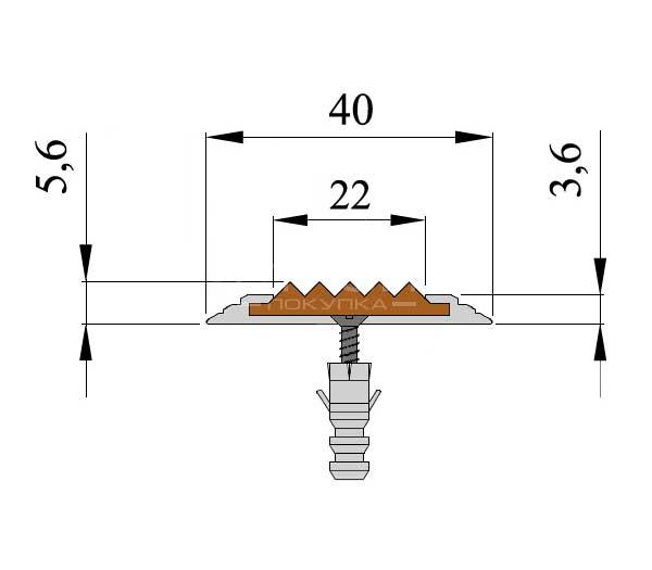 Технические размеры антискользящей накладки — Next АП40.