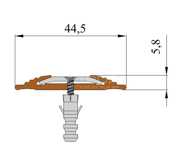 Технические размеры противоскользящего алюминиевого профиля Next АП445.