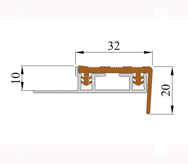 Технические размеры противоскользящего закладного профиля  Next АЗУ 32.