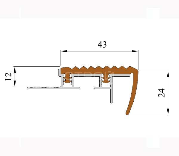 Технические размеры противоскользящего профиля под плитку Next АЗУ43.