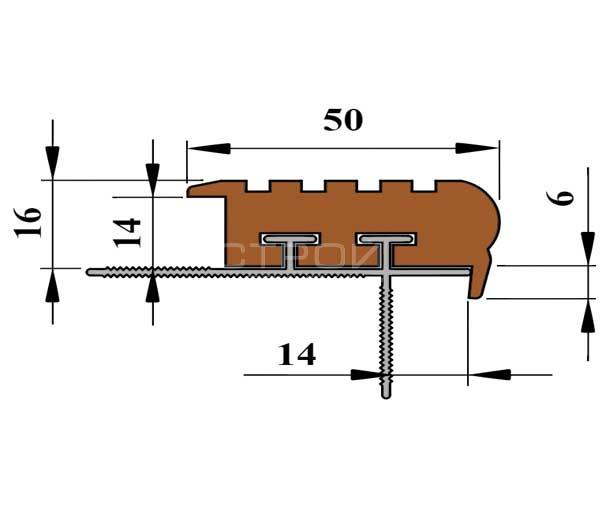 Технические размеры противоскользящего профиля для ступени под плитку — Next УШ50.