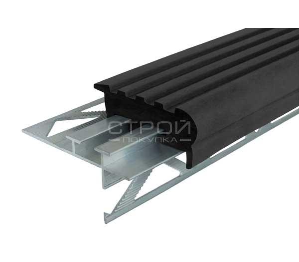 Профиль для ступени под плитку — Next УШ50 черная вставка.