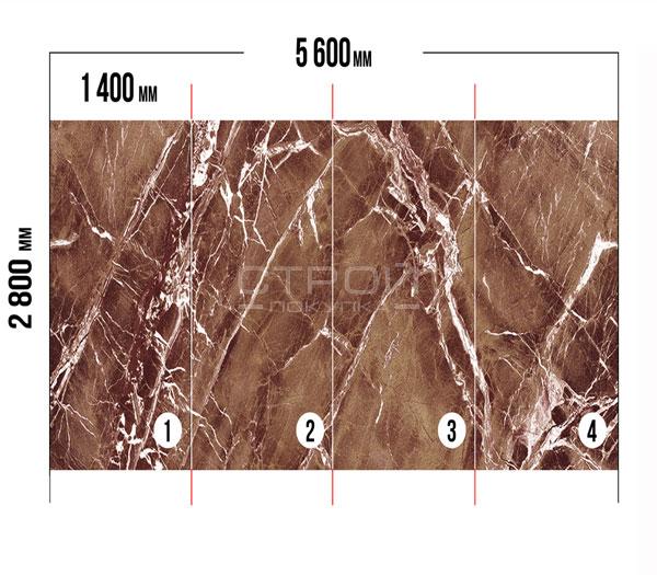 Гибкий камень под мрамор Авантюрин - раскладка листов.