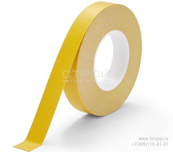 Желтая лента виниловая самоклеющаяся, противоскользящая Resilient h3408 Heskins шириной: 2,5 см